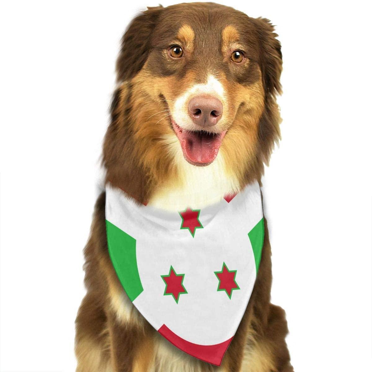 CHAN03 Dogs Bandana Collars Flag of Burundi Pets Triangle Neckerchief Puppy Bibs Scarfs Cats Scarfs Towel