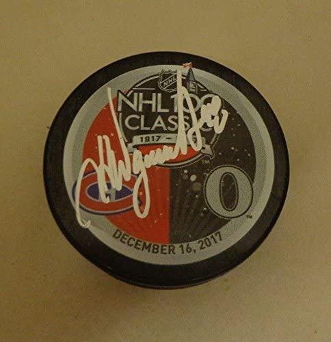 J.J. JJ Daigneault Montreal Canadiens signed 2017 NHL 100 Classic Dueling Puck - Autographed NHL Pucks