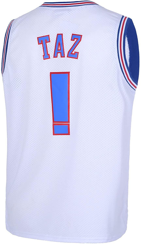 TUEIKGU Taz #! Space Movie Jersey Mens Basketball Jersey S-XXL White/Black