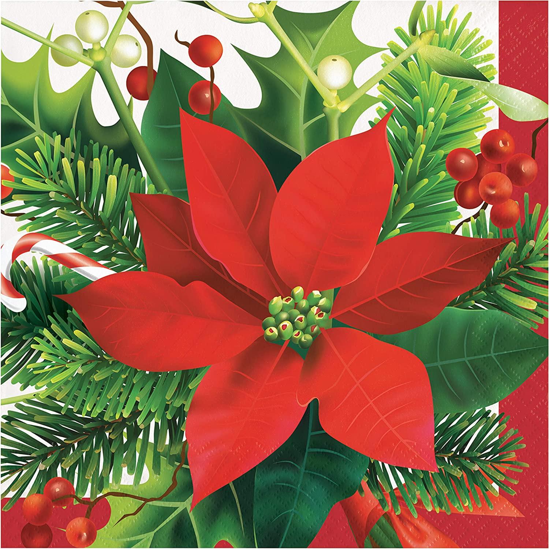 Creative Converting Holiday Poinsettia Napkins, 6.5, Multi-color
