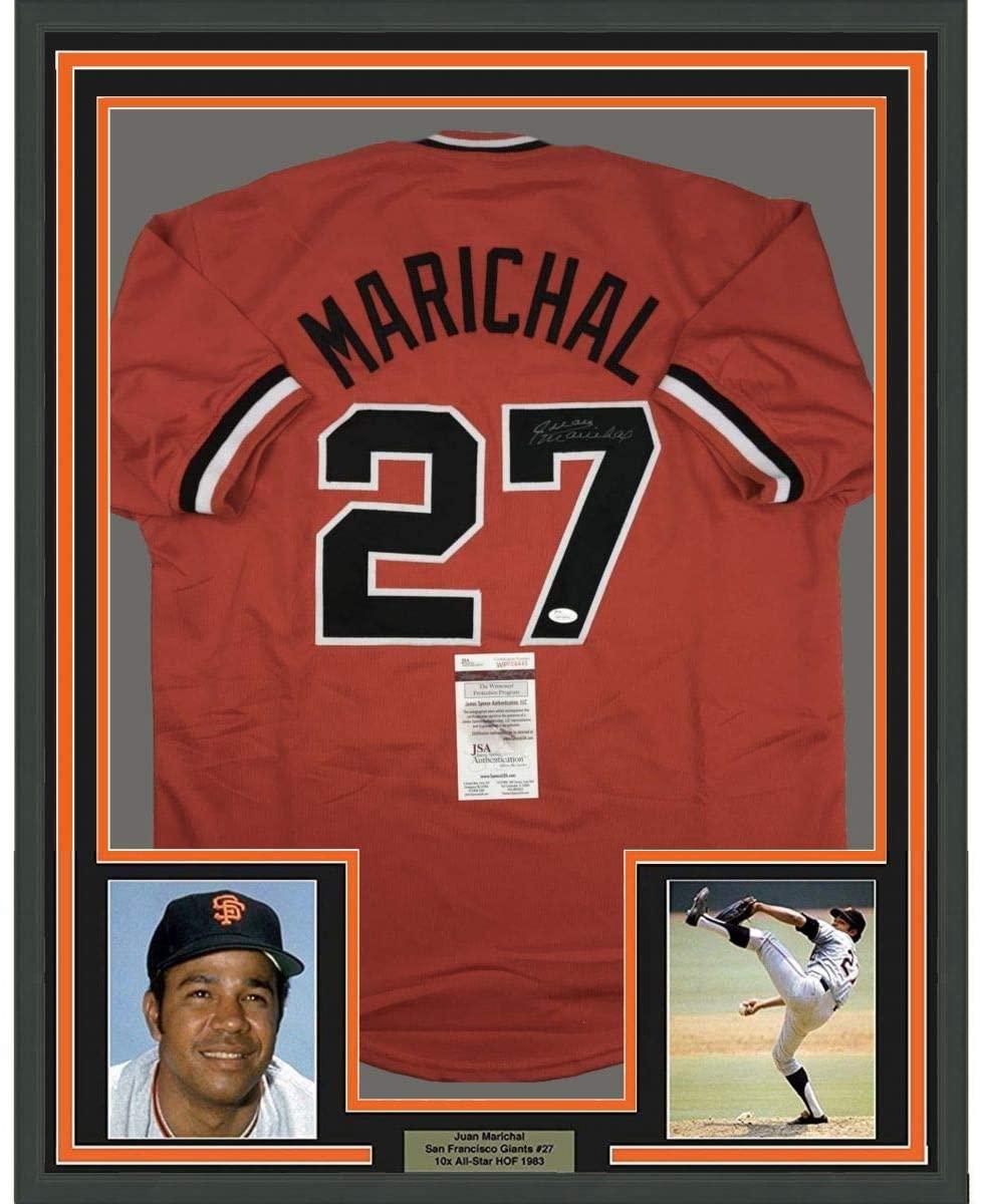 Framed Autographed/Signed Juan Marichal 33x42 San Francisco Orange Baseball Jersey JSA COA