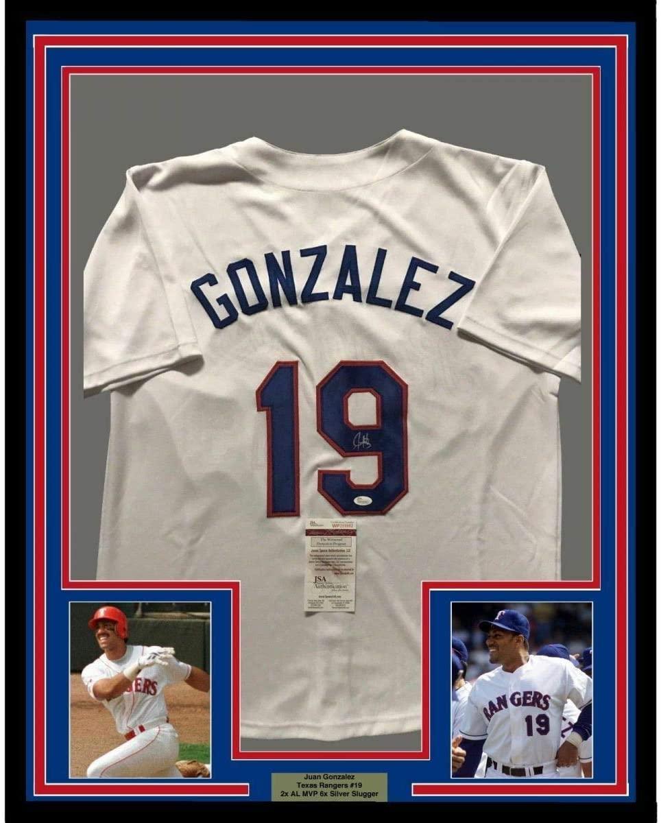 Juan Gonzalez Autographed Signed Framed/Signed 33X42 Texas White Jersey JSA COA Auto