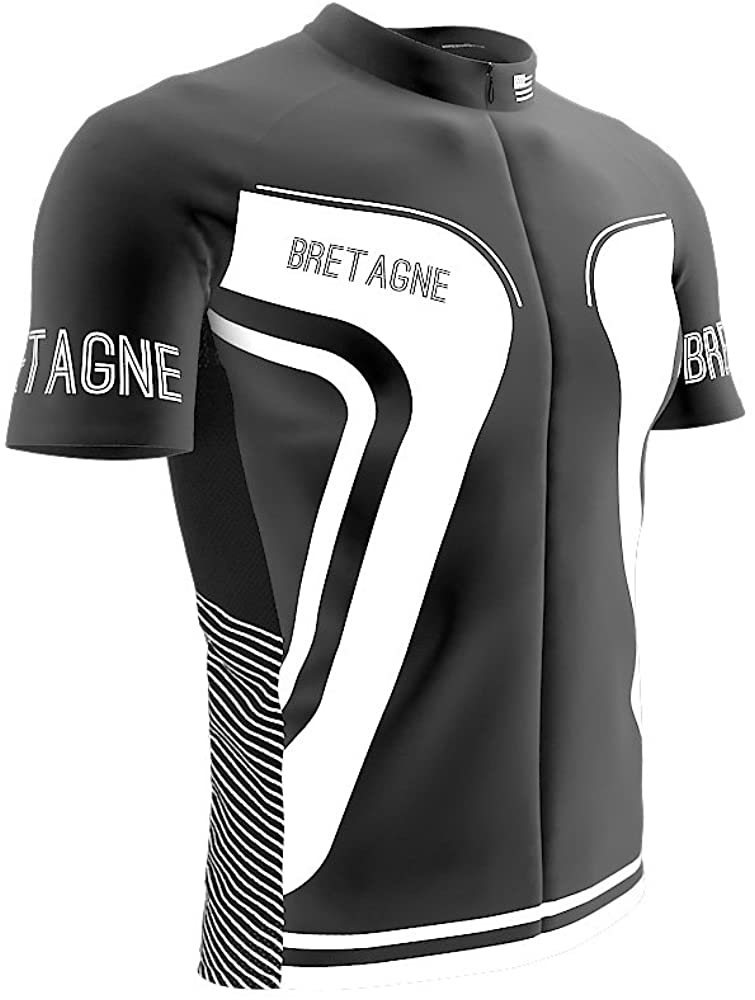 ScudoPro Bretagne France Short Sleeve Full Zipper Cycling Bike Jersey for Men