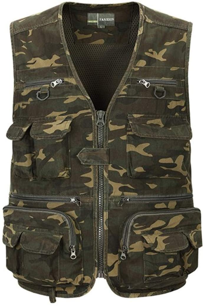 Mens Multi-Functional Fishing Vest Camouflage Pattern Quick Dry Outdoor Fishing Coats Jackets