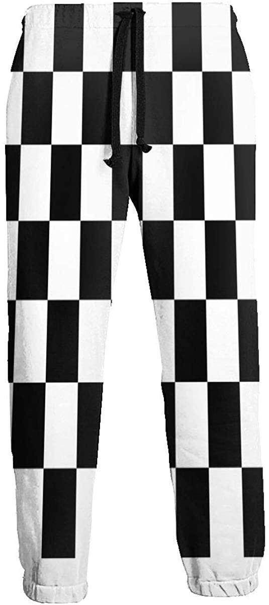 NTQFY Racing Checkered Flag Sweatpants for Men Durable Drawstring Pants for Jogging Gym Hiking