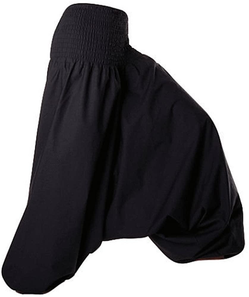 Kiara Men Women Cotton Baggy Boho Aladdin Soft Yoga Sports Dance Harem Pants (Black)