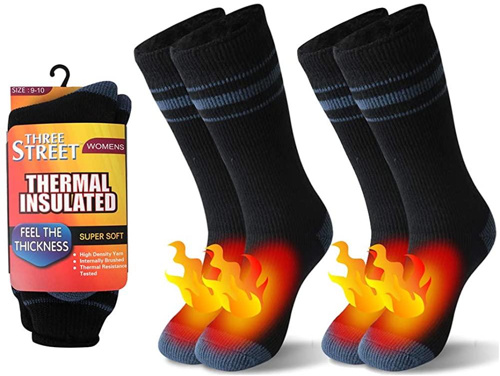 Warm Thermal Socks, Three street Winter Boot Socks,Heated Insulated Fur Lined Winter Socks,Winter Home Slipper Socks,Hot Warm Outdoor Skiing Anniversary Present Socks Women Black Grey 2 Pairs