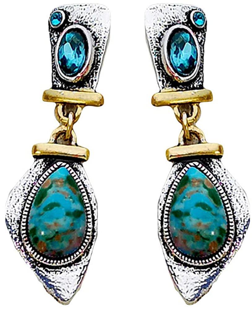 newshijieCOb Vintage Women Earrings Faux Turquoise Inlaid Irregular Geometric Dangle Stud Earrings, Exquisite Jewelry Gift for Women Girls
