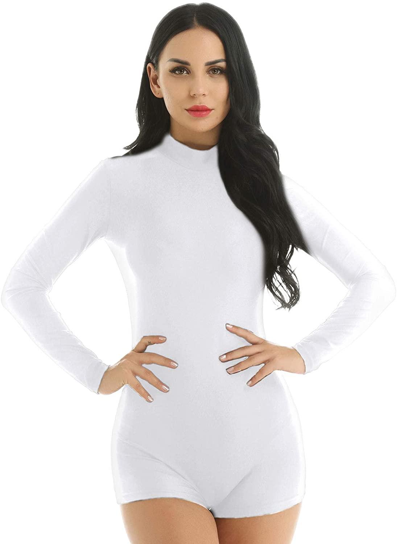 iiniim Women's Dance Biketard Long Sleeve Mock Neck Jazz Gymnastics Bodysuit Shorty Unitard