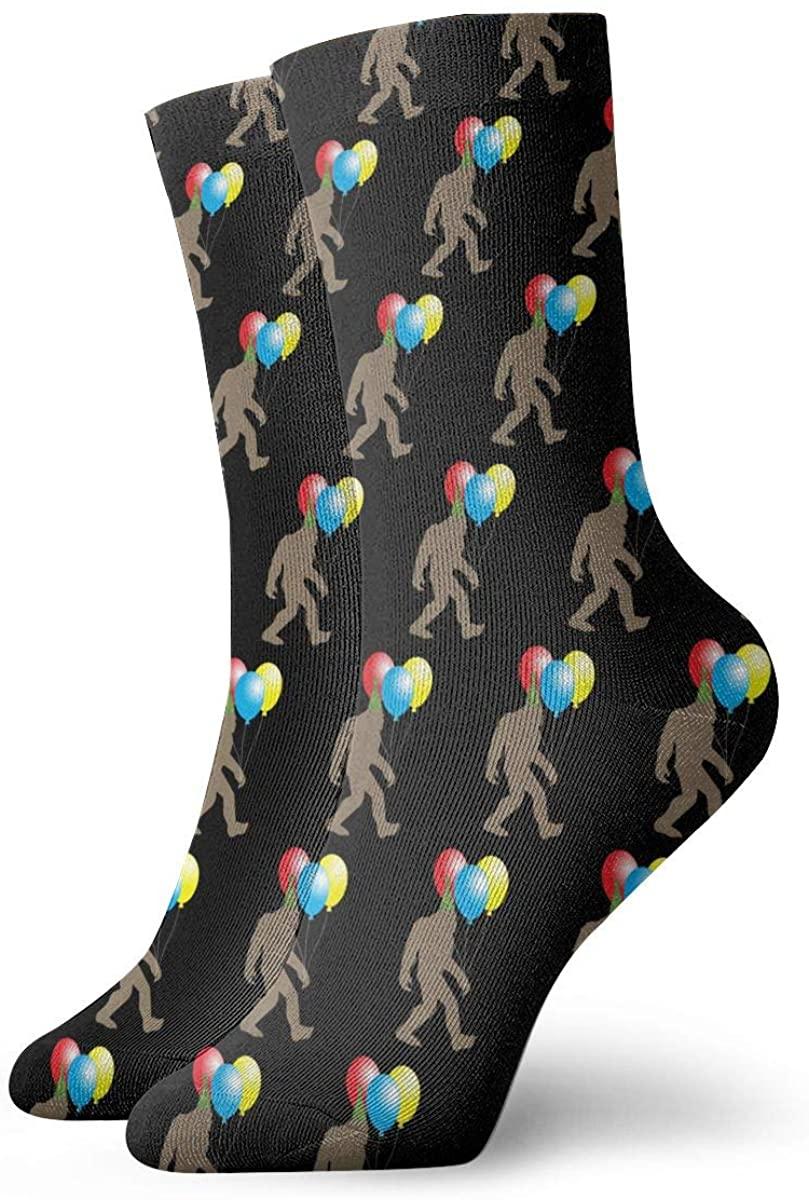 Bigfoot It's My Birthday Party Short Crew Socks Athletic Tube Socks For Men Women