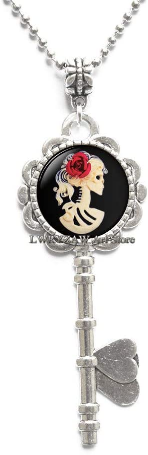 Victorian Gothic Skeleton Lady Cameo, Gothic Victorian Lady with Rose,Antique Look Pendant,Goth Creepy Style Jewelry,M320