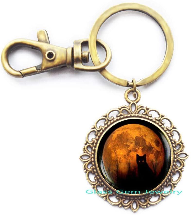 glass gem jewelry Full Moon Cat Keychain, Yellow Moon Keychain, Halloween Black cat Keychain, Black cat Moon Key Ring, Wiccan Keychain,Q0038