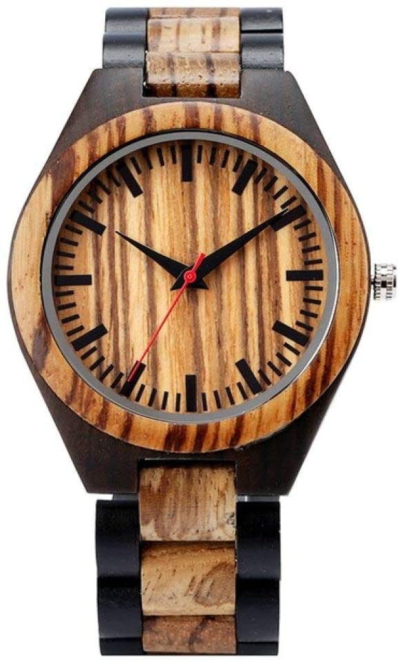 FQD&BNM Wooden Watch Stripe Dapple Pattern Wooden Watches Men's Watch Natural Wood Watch Unique Sport Fashion Casual Clock for Male Gifts