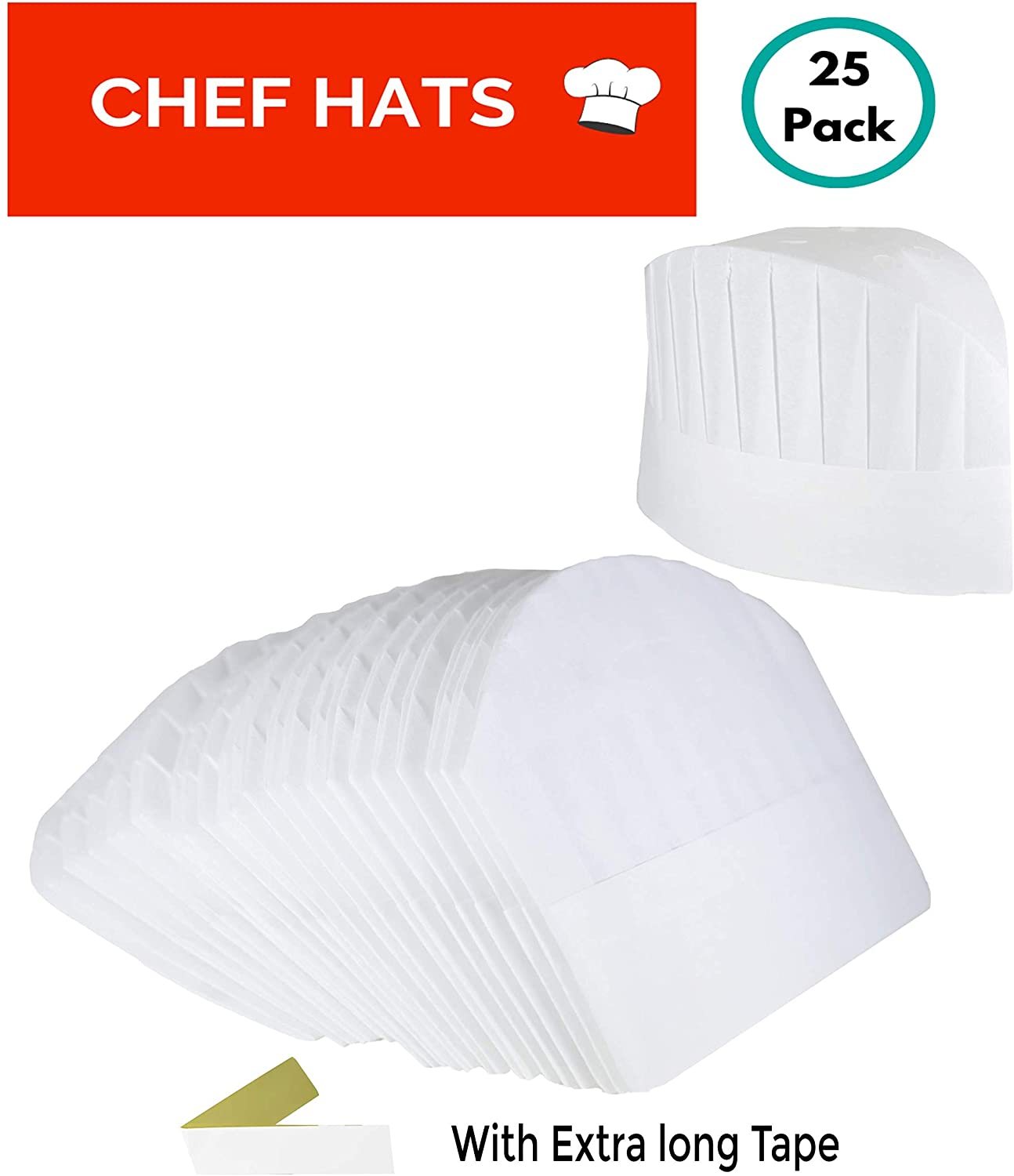 Disposable Paper Chef Hats – 25 Pack Adjustable White Toques for Kids & Adults