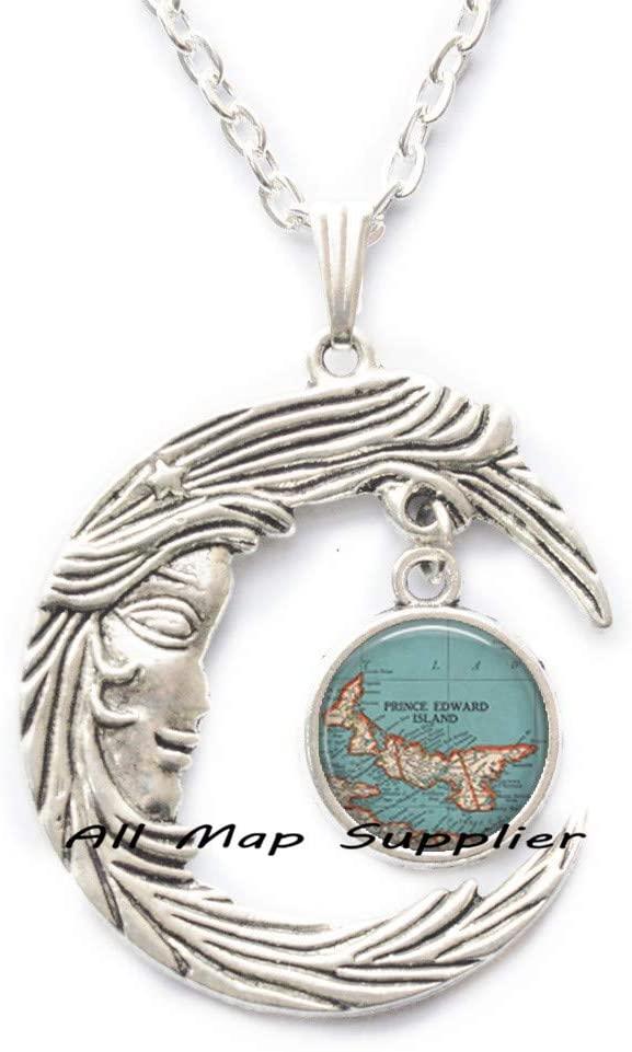 AllMapsupplier Fashion Necklace,Prince Edward Island map Necklace,Prince Edward Island map Pendant map Jewelry Maritime Provinces Canada,A0131