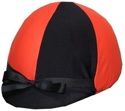 Equestrian Riding Helmet Cover - Orange and Black