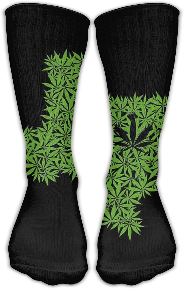 Pin-1 Texas Flag and Cannabis Leaf Athletic Socks Novelty Running Long Sock Cotton Socks