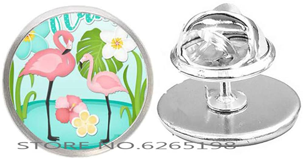 Dainty Flamingo Brooch,Charm Brooch, Bird Brooch,Flamingo Lover Gift,Lucky Brooch,Glass Pin,N057