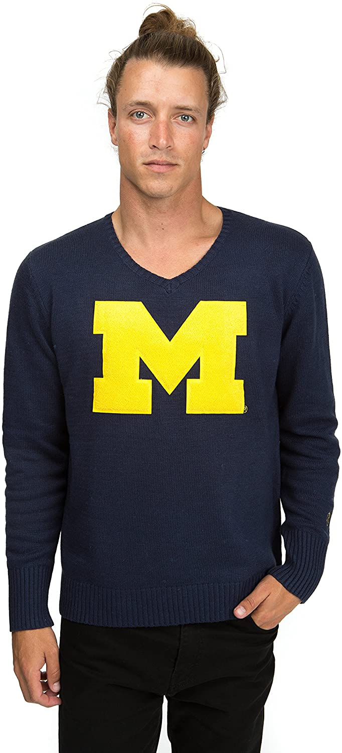 Alma Mater NCAA Michigan Wolverines Men's V-Neck Sweater, 3X-Large, Navy