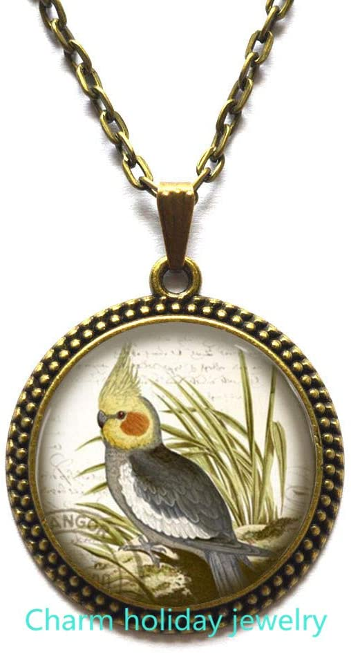 Cockatiel Jewelry-Glass Pendant Necklace,Cockatiel Necklace,Cute Parrot Gift,Bird Lover Jewelry,Cute Pet Gift,Round Glass Pendant,Pet Memorial,Cockatiel Mom Jewellery-#202