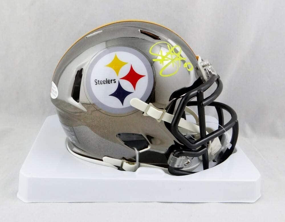 Troy Polamalu Autographed Steelers Chrome Speed Mini Helmet- Beckett W Auth Yellow