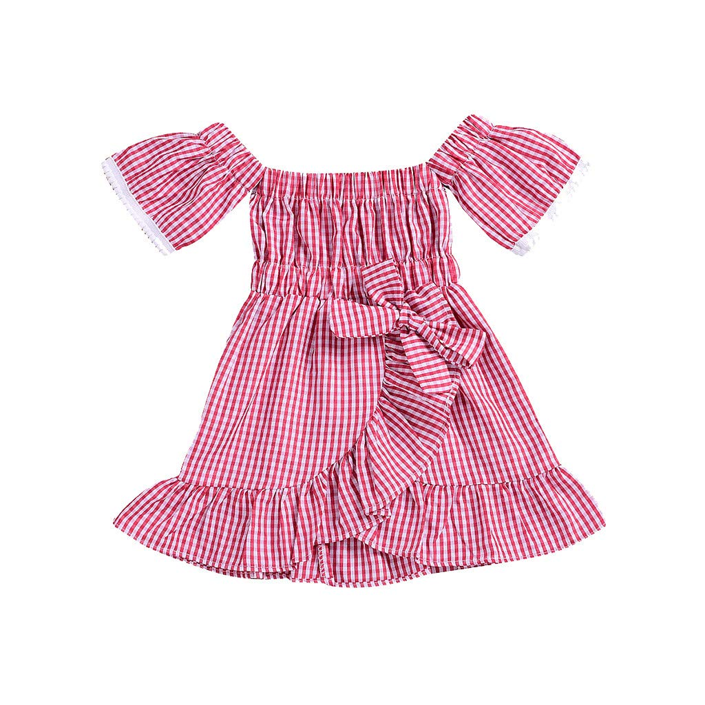 VonVonCo Toddler Children Baby Skirts for Girls Off Shoulder Plaid Print Dress Lace Ruffles Dresses Clothes Red