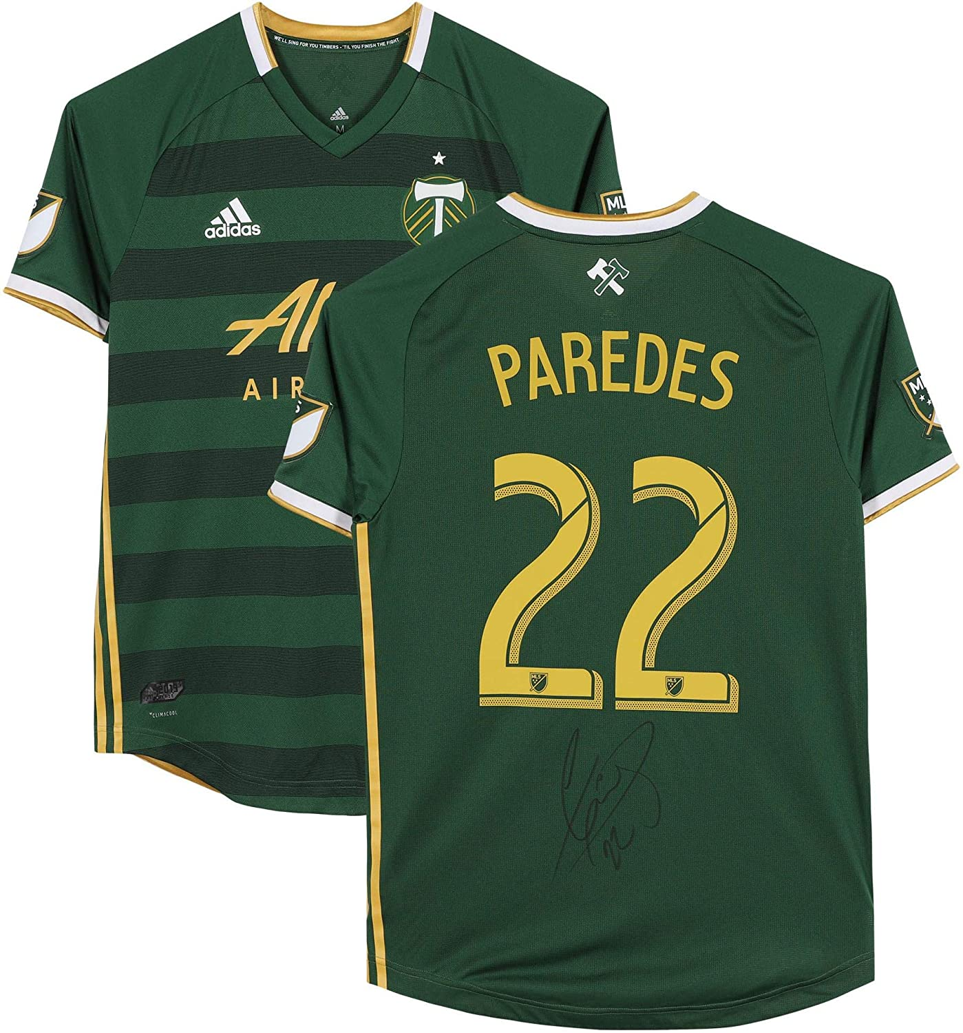 Cristhian Paredes Portland Timbers Autographed Match-Used #22 Green Jersey from the 2019 MLS Season - Fanatics Authentic Certified