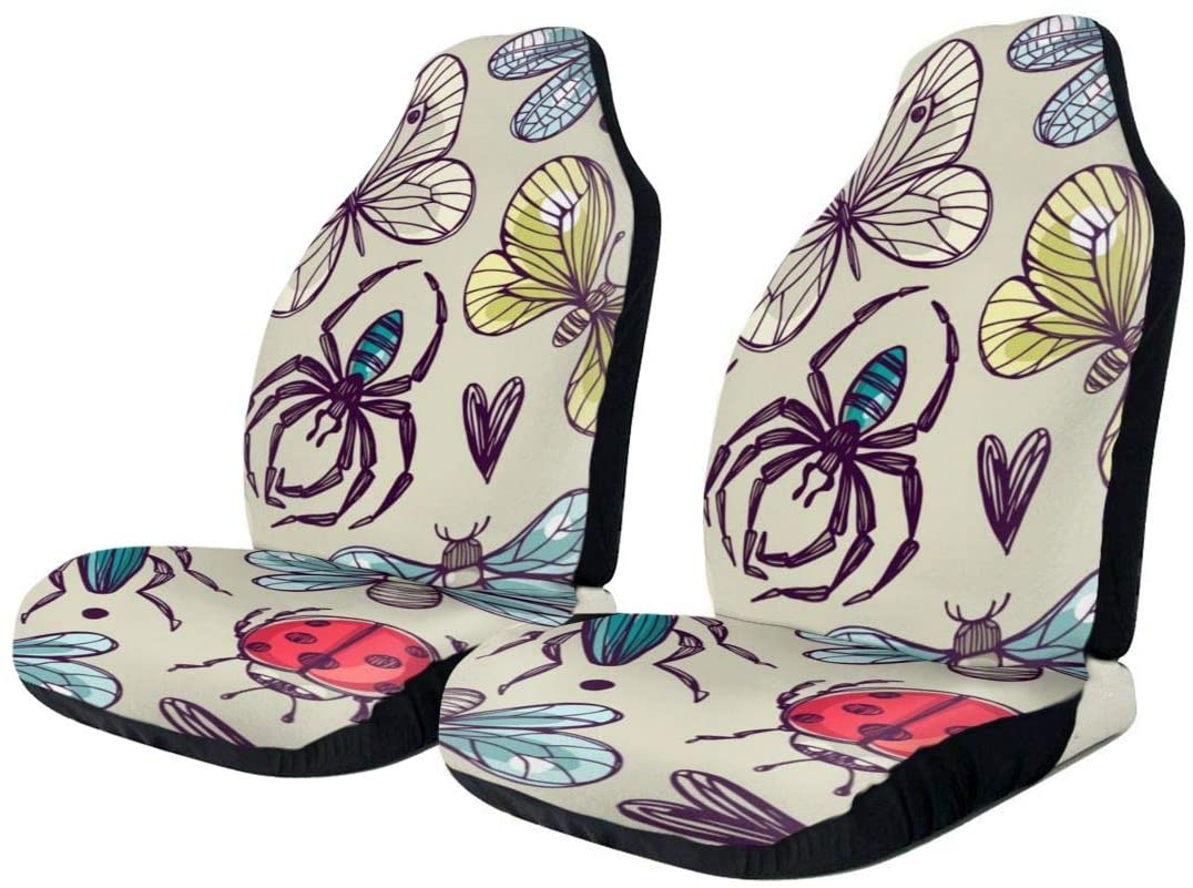 EJudge SLHFPX Car Seat Cover Seamless Flowers with Butterfly SUV Truck Seat Covers Front Bucket Auto Car Seat Protector Covers for Women Men Kids,Universal Fit Most Car,Van,Sedans,Vehicle