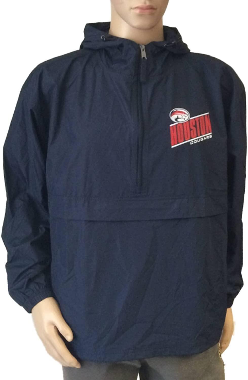 Gear for Sports Houston Cougars GFS Navy LS 1/4 Zip Hooded Windbreaker Pullover Jacket (L)