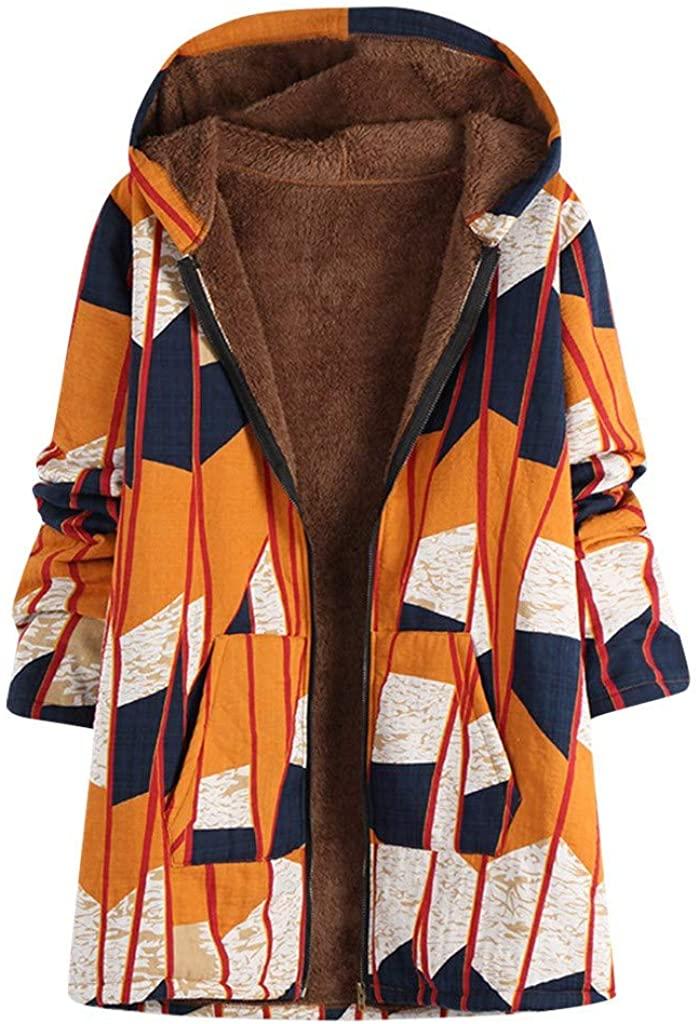 Women Vintage Coat Autumn Winter Warm Loose Fit Zip-up Long Hooded Oversized Jacket Parka Outwear Overcoat