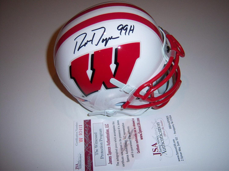 Autographed Ron Dayne Mini Helmet - Wisconsin coa - JSA Certified - Autographed College Mini Helmets