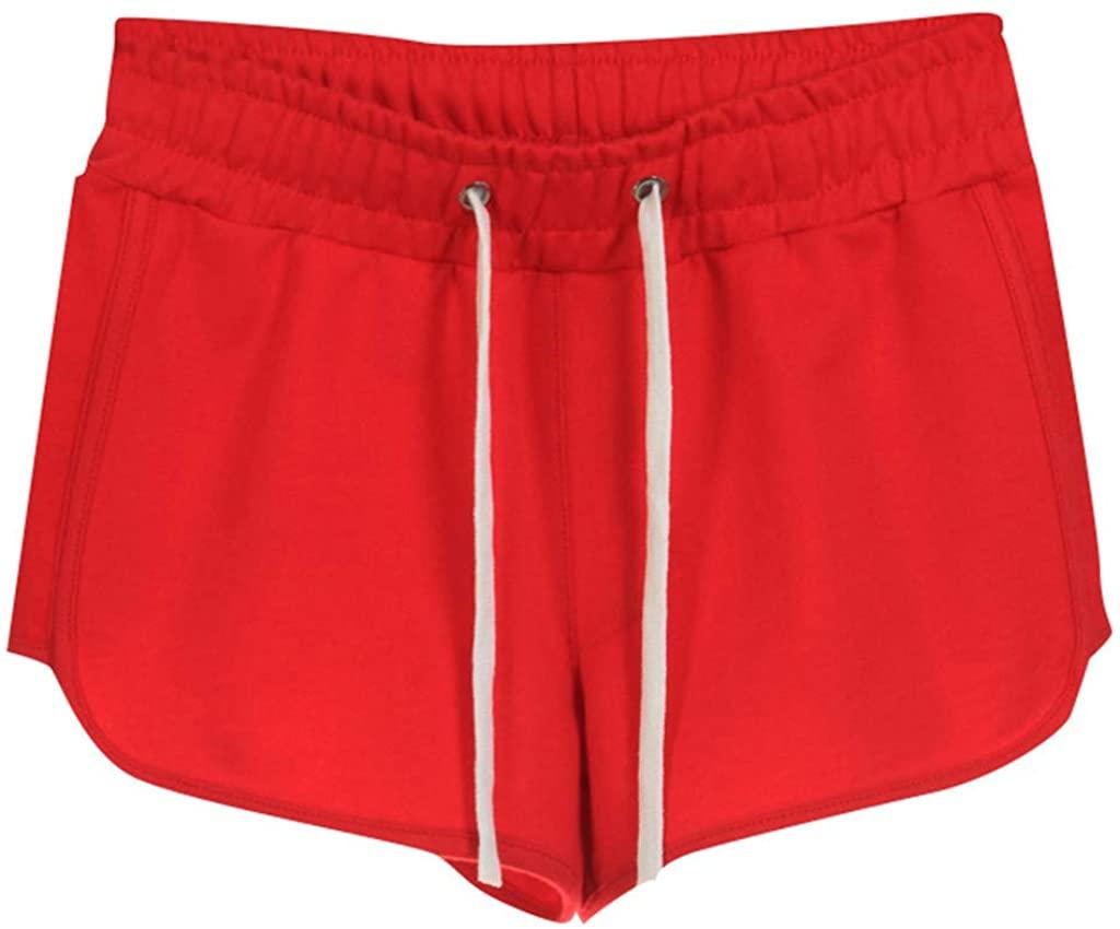 JOFOW Womens Sports Shorts Solid Drawstring Comfy Loose Casual Running Mini Pants
