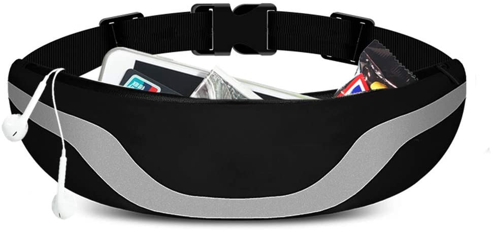 OYATON Reflective Running Belt for Women and Men, Bounce-Free Running Slim Waist Packs Waterproof with Large Pocket Phone Holder and Adjustable Elastic Strap for Hiking Walking Workout Travel (Black)