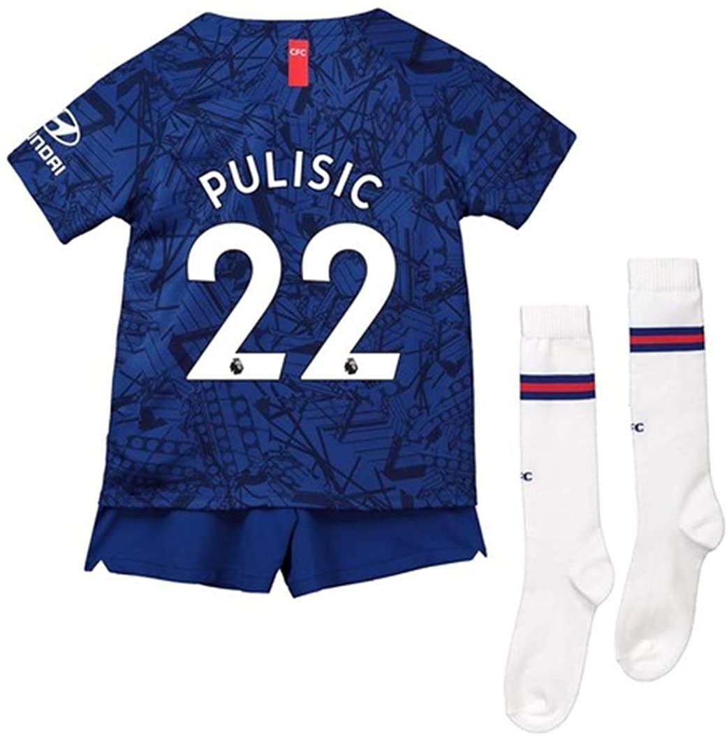 LISIMKEM Christian Pulisic #22 2019-2020 Kids/Youths Home Soccer Jersey/Short/Socks Colour Blue