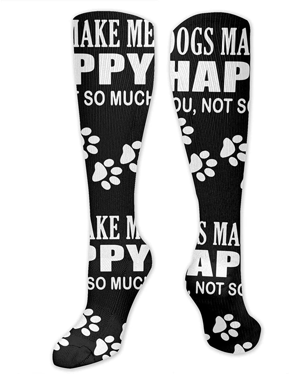 Dogs Make Me Happy You Not So Much Cute Funny Socks Best For Bodybuilding Flight Travel Hiking -Running & Fitness