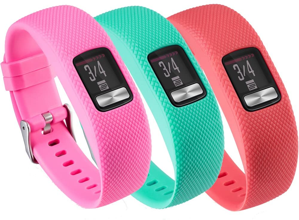 QGHXO Band for Garmin Vivofit 4, Soft Silicone Replacement Watch Band Strap for Garmin Vivofit 4 Activity Tracker, Small, Large, Ten Colors (A-Pink&Teal&Red, Large)