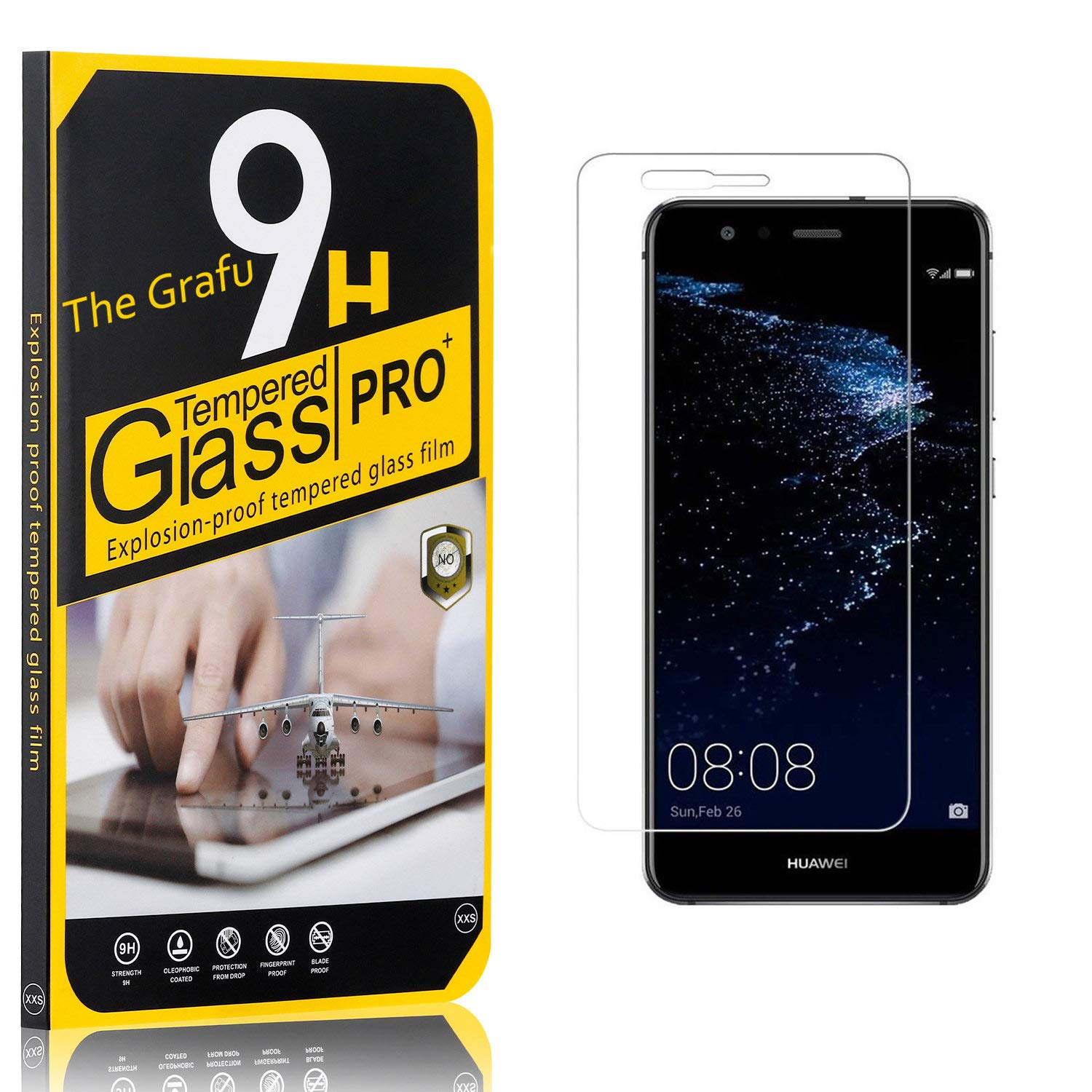 The Grafu Screen Protector for Huawei P10 Lite, Bubble Free, 9H Scratch Resistant Tempered Glass Screen Protector Film Compatible with Huawei P10 Lite, 3 Pack