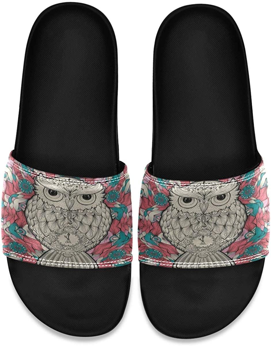 Tribal Owl Bird Floral Flower Men's Leather Slide Sandals Summer House Slippers Athletic Boys