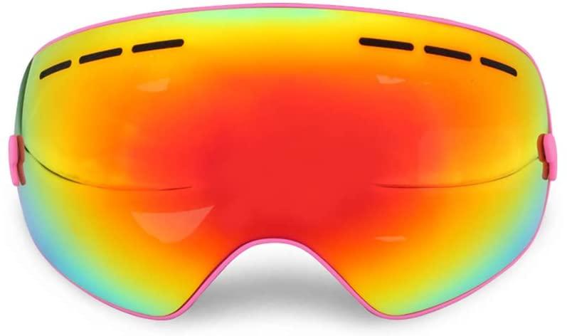 FANLI Ski Goggles, OTG Dual Layers Lens Spherical Design 400 Uv Protection Anti Fog Snowboard Goggles Winter Man Woman Youth Skiing Helmet Compatible
