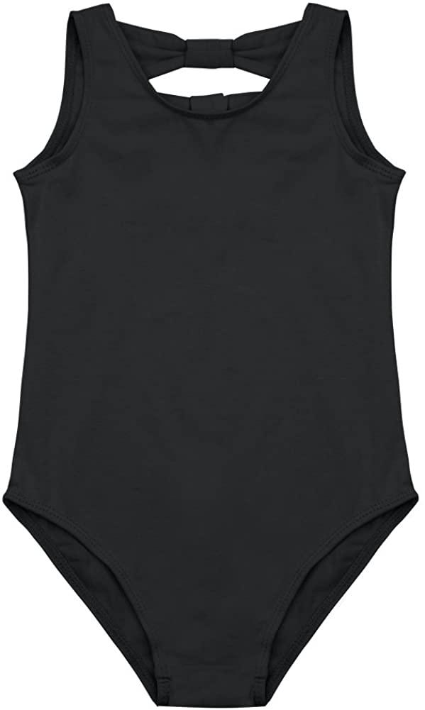 TiaoBug Girls Bowknot Back Ballet Leotard Jumpsuit Cotton Comfy Gymnastics Dance Tank Top Bodysuit Cheerleading Costumes