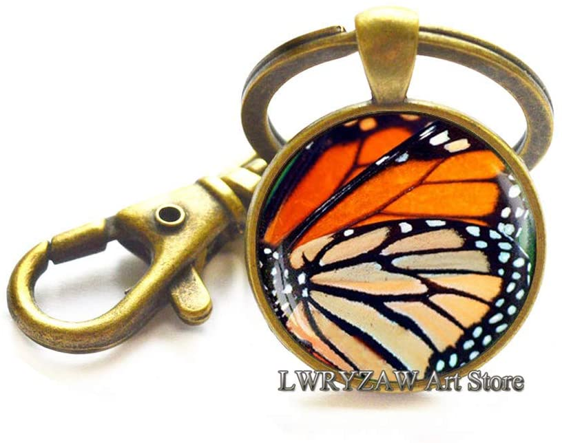 Monarch Butterfly Wing Keychain, Butterfly Wing Keychain, Glass Keychain, Monarch Key Ring, Butterfly Keychain, Nature Jewelry Insect Key Ring,M91