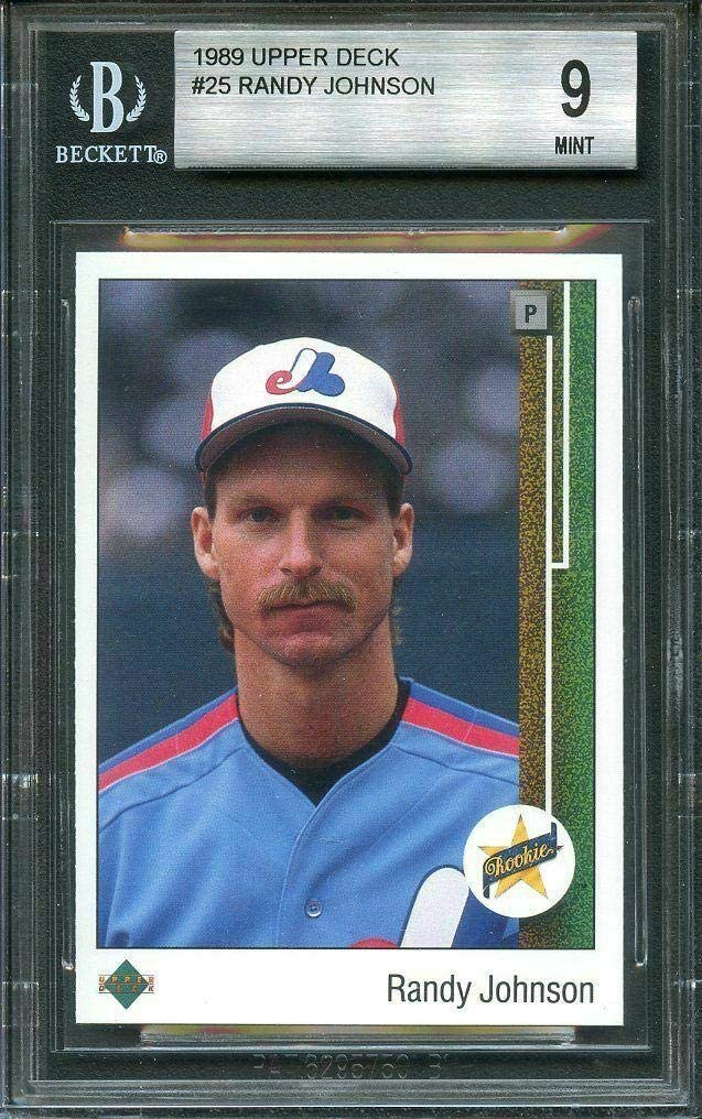 1989 upper deck #25 RANDY JOHNSON montreal expos rookie card BGS 9 (9 8.5 9 9) - Baseball Slabbed Rookie Cards