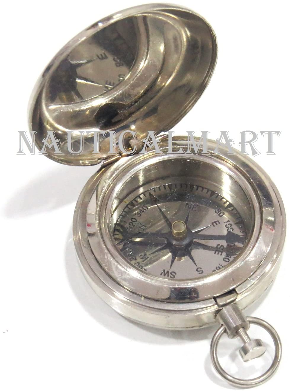 NauticalMart Pocket Compass Chrome Plated Camping Nautical Gift Vintage