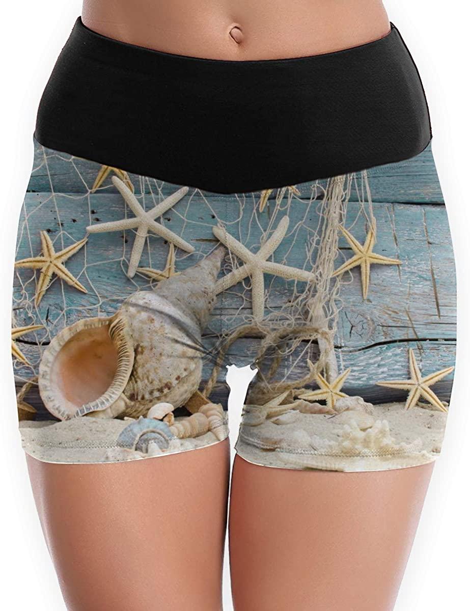 CHEERPEACETIME Womens Yoga Shorts Pants Nautical Wood Beach Starfish Seashell High Waist Soft