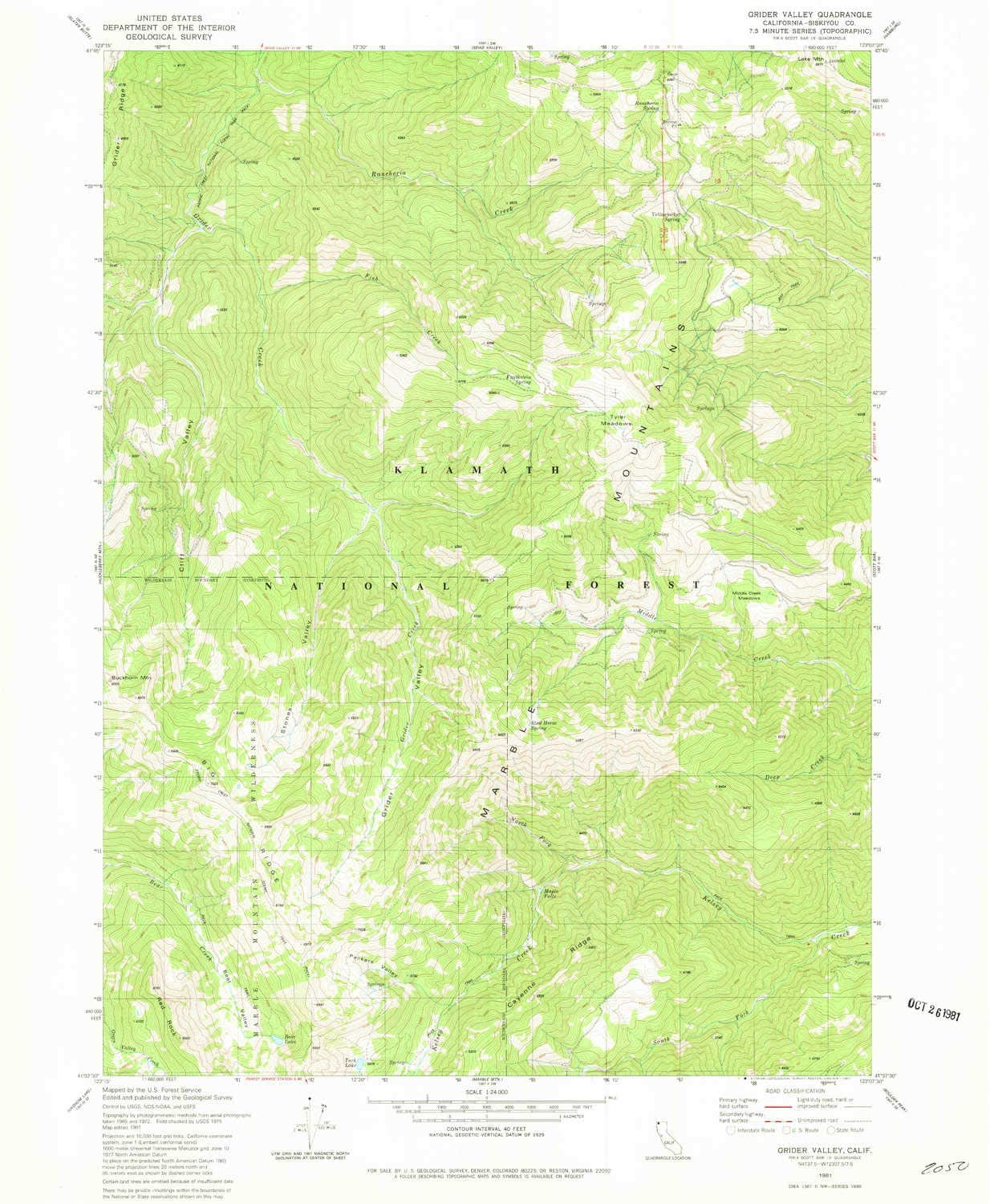 YellowMaps Grider Valley CA topo map, 1:24000 Scale, 7.5 X 7.5 Minute, Historical, 1981, Updated 1981, 26.6 x 21.9 in