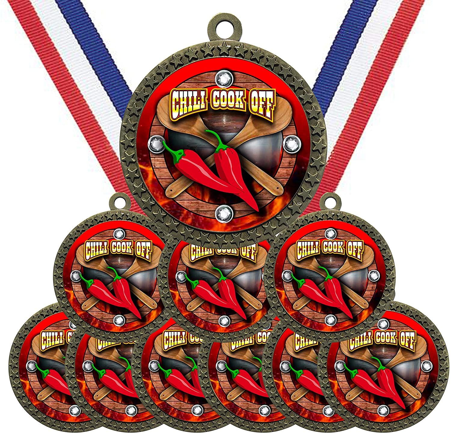 Large 2-1/2 inch Diameter Metal Antique Gold Chili Cook Off Contest Medals Star Award Trophy Champion Winner with Red White and Blue Neck Ribbons (Pack of 10)