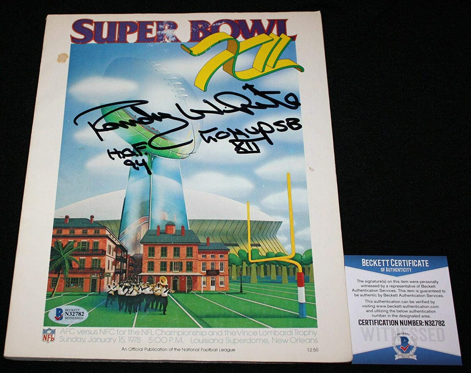 Randy White signed Super Bowl XII Program, Dallas Cowboys, Beckett BAS - Beckett Authentication - Autographed NFL Magazines