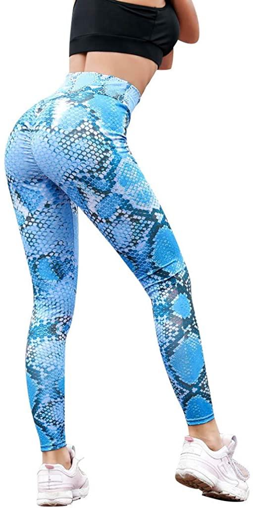 TOTAMALA Women's High Waist Tummy Control Yoga Leggings Serpentine Mesh Pants Running Workout Fitness Sport Leggings