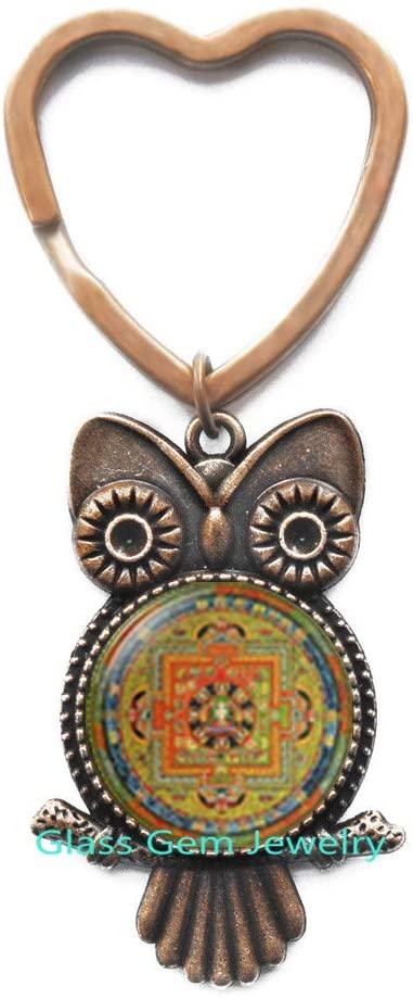 Buddhist Mandala Key Ring,Sacred Geometry Jewelry,Spiritual Owl Keychain,Buddhist Mandala,Buddhist Owl Keychain,Geometric Owl Keychain,Q0209