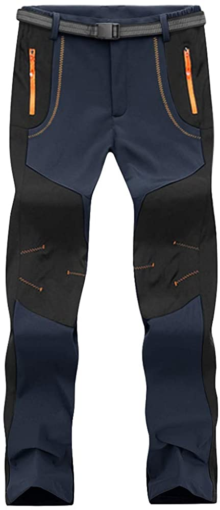 CRYSULLY Men's Outdoor Hiking Pants Quick Dry Lightweight Mountain Zip Pockets Pants